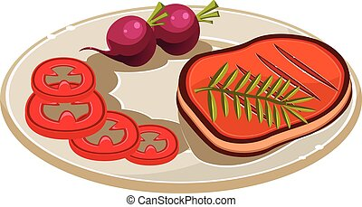 Steak with Vegetables on a Plate. Vector Illustration