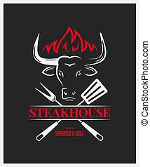 steakhouse logo with bull head on dark background