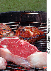 steaks and chops on the grill