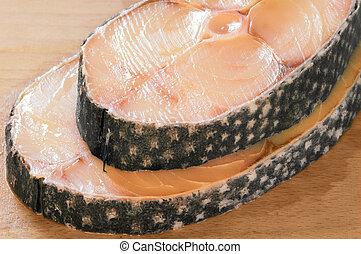 Steaks of toothfish