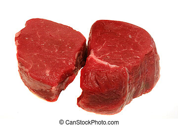 Steaks - Two prime filet mignon steaks ready for grilling...