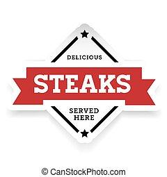 Steaks vintage stamp retro red