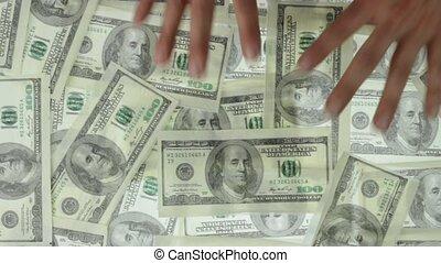 stealing dollars - Greedy hands grabbing money lot of ...