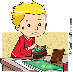 Stealing Money - A boy stealing money in his father wallet. ...