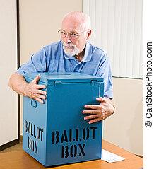 Stealing the Election - Senior man stealing a ballot box...