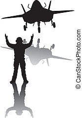 Stealth aircraft silhouette
