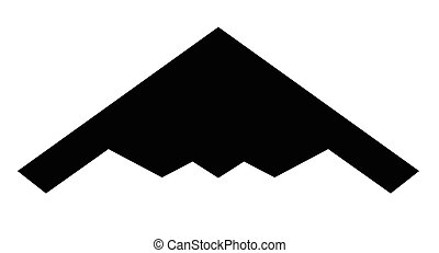 Stealth Bomber Silhouette - Black slihouette of a typical...