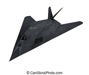 Stealth Fighter Aircraft isolated on white background. 3D...