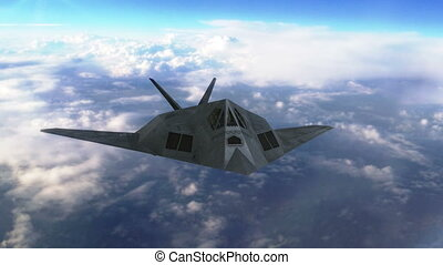 Stealth jet aircraft flying above clouds