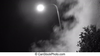 Steam against street lantern light at night, mystic black ...