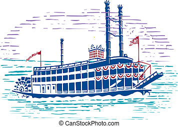 Very nice design of simple drawing of mississippi paddle wheel steam boat