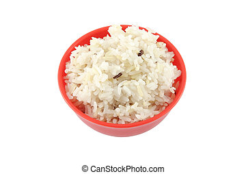 Steam brown rice red bowl on white background.