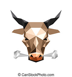 steam bull - Illustration of abstract origami wild steam...