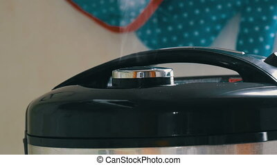 Steam comes out of the lid of black multicooker - Steam...