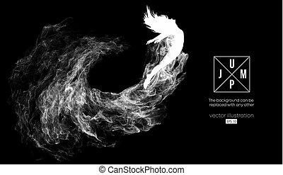 steam., czuć się, kobieta, sylwetka, inny., może, abstrakcyjny, changed, dym, cząstki, kurz, wektor, czarnoskóry, ilustracja, tło, ciemny, dziewczyna, jakiś, skokowy