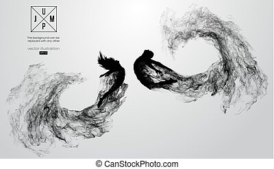 steam., czuć się, wektor, sylwetka, inny., abstrakcyjny, changed, cząstki, ilustracja, jakiś, kurz, dym, może, tło, kobieta, dziewczyna, człowiek, biały, skokowy