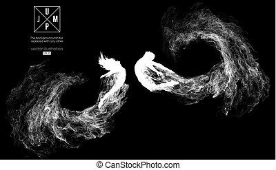 steam., czuć się, wektor, sylwetka, inny., może, abstrakcyjny, changed, cząstki, ilustracja, kurz, dym, czarnoskóry, ciemny, tło, kobieta, dziewczyna, człowiek, jakiś, skokowy