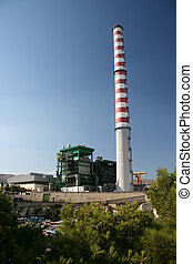power plant - steam electric power plant with high red and...