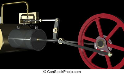 Animation of a steam engine. Seamless loopable.