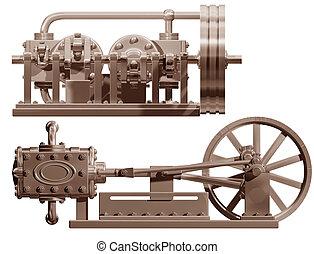 Steam engine front and side - Original illustration of a ...