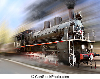 locomotive in motion blur - steam engine, locomotive in...