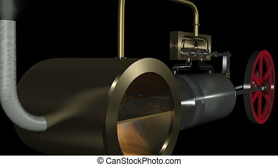 Animation of a steam engine. Float of the steam is shown.