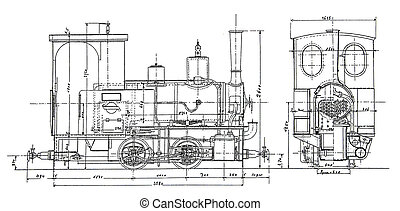 steam-engine plan - plan of vintage steam-engine
