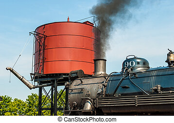 Steam Engine to get Water by Water Tower
