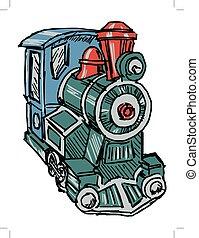 steam engine train - hand drawn illustration of a steam...