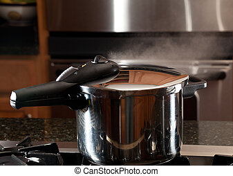 Steam escaping from new pressure cooker pot - Steam escaping...
