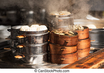 Steam food in a street market in china