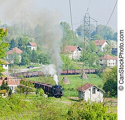 steam freight train, Durdevik, Bosnia and Hercegovina