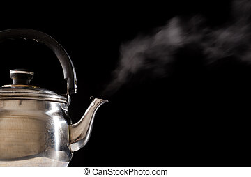 Steam from boiling teapot on black background - Steam from...
