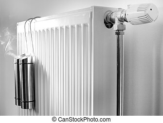 Steam from metal containers on radiator