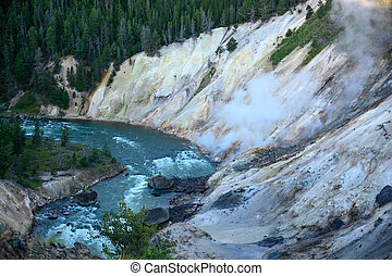 Steam Hovering over Yellowstone river