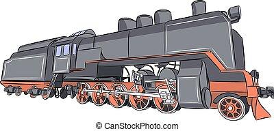 Vector. Old steam locomotive.