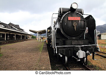 Steam locomotive at Former Taisha station, Izumo, Shimane, Japan