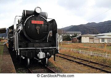 Steam locomotive at Former Taisha station, Izumo, Shimane, Japan