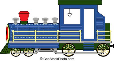 steam locomotive blue isolated on white background vector illustration