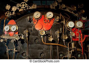 Steam locomotive cockpit