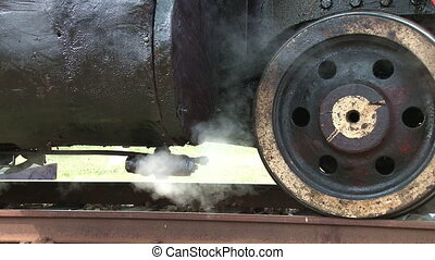 Steam locomotive detail as engine d - Close up detail of...