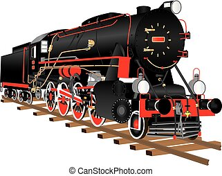 Steam Locomotive - A veteran black and red steam freight...