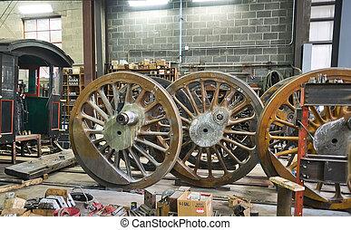 Steam Locomotive Drive Wheels being Restored