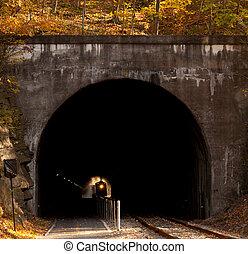 Steam locomotive enters tunnel - Old steam train pulling...