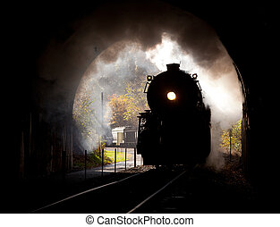 Steam locomotive enters tunnel - Old steam train pulling ...