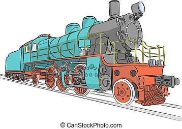 Steam locomotive. - Vector. Old steam locomotive on the...
