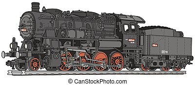 Steam locomotive - Hand drawing of a classic steam...