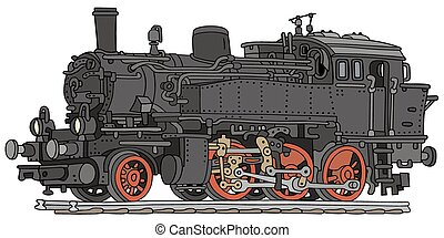 Steam locomotive - Hand drawing of a vintage steam...