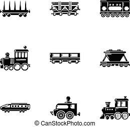 Steam locomotive icons set, simple style
