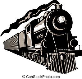Steam locomotive - Illustration on rail transport isolated...